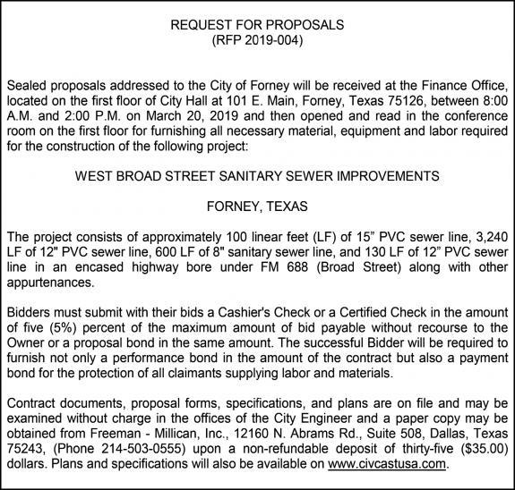 02 28 19 Notice - RFP 2019-004-W Broad Sewer_McQuistion | Forney